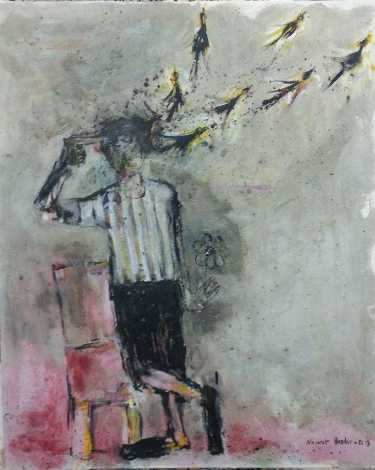 עבודה של האמן הסורי Nawar Haedar (באמצעות סיוון פרנס בפייסבוק)