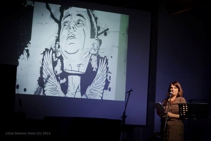 """תמונה שלי, ברקע צילום של חגי מרום מתוך """"מחתרת הגרפיטי של תל אביב"""""""